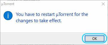 uTorrentの再起動メッセージ